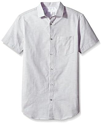 Calvin Klein Men's Short Sleeve Chambray Button Down Shirt