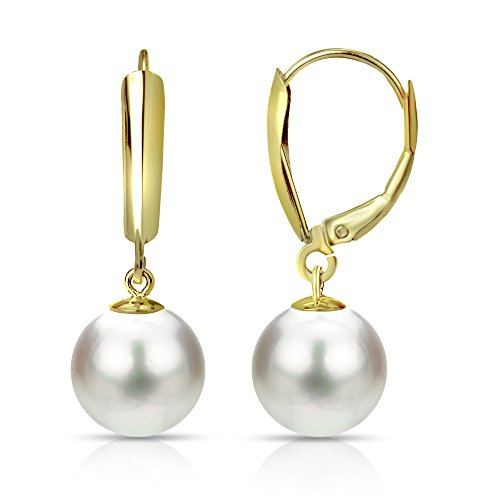 Earrings Handmade Dangling (White Freshwater Cultured Pearl Leverback Earrings 14K Yellow Gold Jewelry for Women 9-9.5mm)