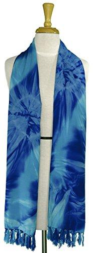 Womens Blue Tie Dye (1WS Womens Tie Dye Motif Extra Wide Neck Scarf in Blue)