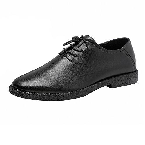 Oxfords Respirables Cordones de Cuero Negro para Mate Color Fang Forrados EU Zapatos Genuino Hombres Mocasines con 2018 Tamaño Bajos 42 Negro shoes Zapatos Encaje Hombre qz6UAF