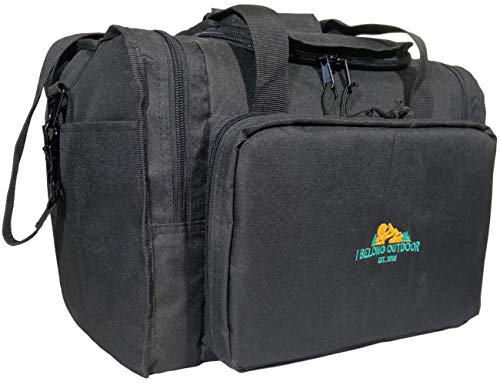 I Belong Outdoor Tactical Gun Range Bag-Lockable Storage Case for Pistols Ammo and Shooting Accessories with Magazine Pockets and Zippered Handgun Pouches