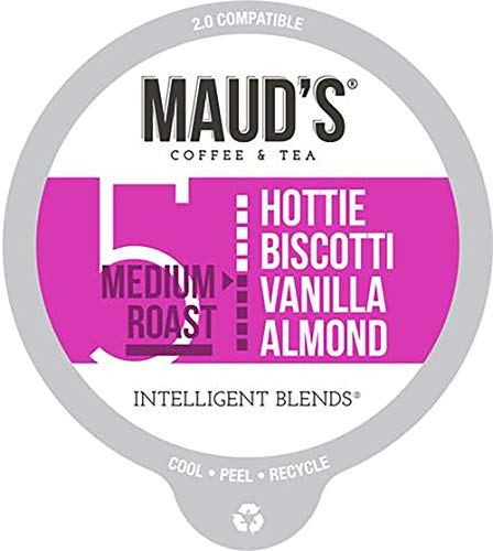 Maud's Vanilla Almond Flavored Coffee (Hottie Biscotti Vanilla Almond), 60ct. Recyclable Single Serve Coffee Pods - Richly Satisfying Arabica Beans California Roasted, K-Cup Compatible Including 2.0