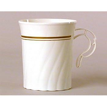 Masterpiece Plastic 8oz Coffee Cups, Ivory w/Gold Rim 8 Per Pack