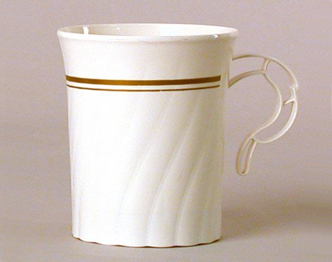 Masterpiece Plastic 8oz Coffee Cups, Ivory w/Gold Rim 8 Per Pack