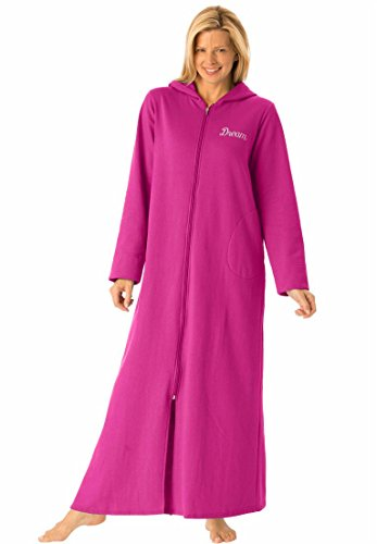 Dreams & Co. Women's Plus Size Personalized Long Ultrasoft Hoodie Robe Passion (Womens Plus Size Robes)