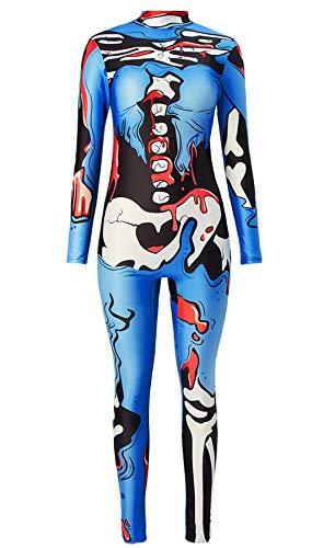 Women's Halloween Skeleton Bodysuit Cosplay Blue Pop Art