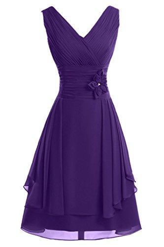 Linie A Blumen Brautjungfernkleid Mit Promkleid Abendkleid Ivydressing Violett V Ausschnitt Kurz Damen aRqa4XY