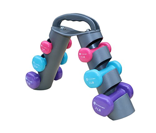 Dumbbell Set of 6 Total Dumbbells with Foldable Rack That Can Stand For Display or Folded For Travel And Storage The Weights (Set Includes 1 Pairs of 1LB, 2LB, 3LB POUNDS)
