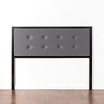 Zinus Banded Grey Upholstered Metal Headboard