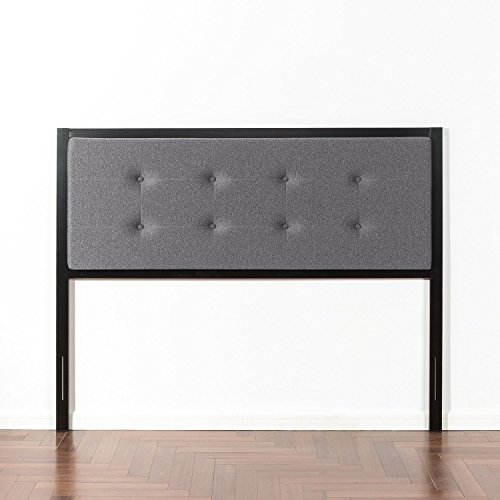 Find Cheap Zinus Banded Grey Upholstered Metal Headboard