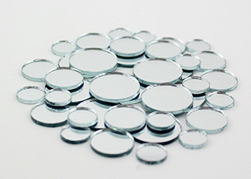 Glass Mirror Craft (Glass Craft Mini Round Mirrors Bulk Assortment 1/2, 3/4 & 1 inch 100 Pieces Mirror Mosaic Tiles)