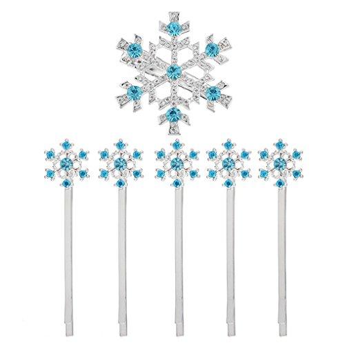 MJARTORIA Christmas Blue Rhinestone Snowflake Hair Clip Hairpin Elsa(blue 2)