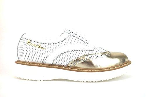 BRACCIALINI Oxfords-Shoes White Gold Leather AH365 (8 US / 38 EU)