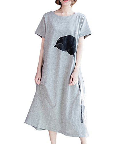 ELLAZHU Femme  La Mode Manches Courtes Impression De Fleur Long T Shirt Robe GA1143 A Gris