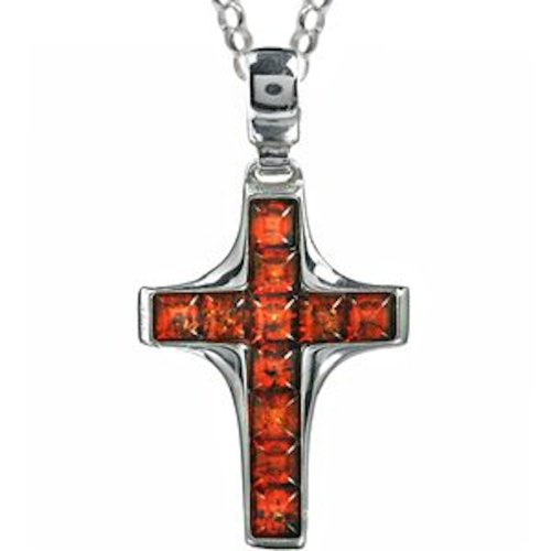 Honey Amber Sterling Silver Cross Pendant Rolo Chain 18