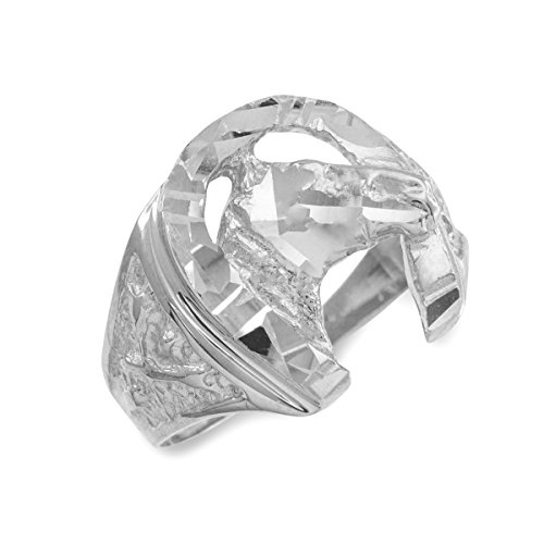 Cougar Head Charm (Dainty 14k White Gold Polished Nugget Band Good Luck Horsehoe with Horse Head Ring (Size 16))