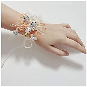KesaPlan Girl Bridesmaid Wedding Flower Fairy Wrist Corsage Party Prom Pearls Hand Flower Decor 114