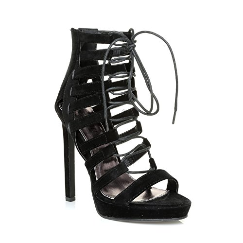 ShuWish UK Dylan Black Faux Suede Cut Out Caged Lace up Peep Toe High Heels N8iFhnv7p