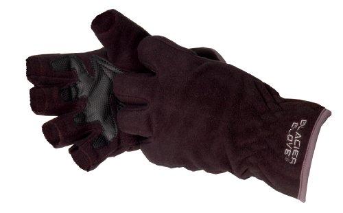 Glacier Glove Windproof Fleece Fingerless Glove, Black, (Black Fingerless Neoprene Gloves)