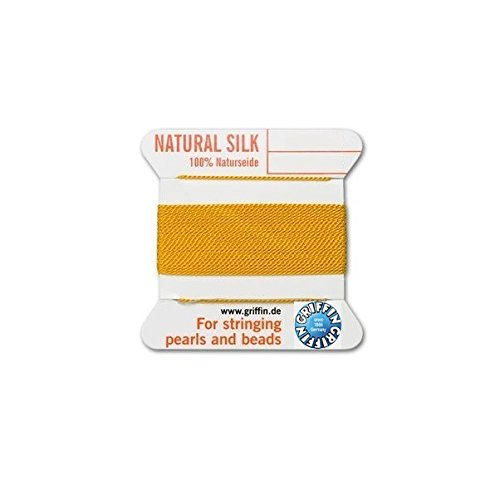 - Griffin natural silk thread for stringing pearls and beads Size #8 Amber Yellow