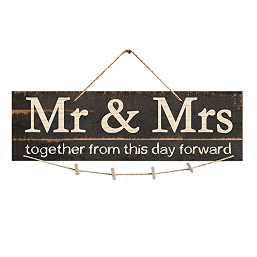 Lothver MS MRS Wooden Photo Clip photo holder Wedding picture frame Couple photos Wall Decoration by Lothver