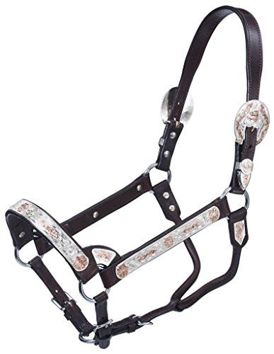 Tough-1 Premium Bright Cut Edge Silver with Copper Scroll Show Halter - Dark Oil