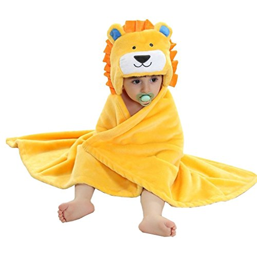 ZoopurrPets Baby Boys' or Baby Girls' Hooded Animal Blanket; Super Soft, Huggable Plush Hoodie Blanket (King of Jungle, Lion) ()