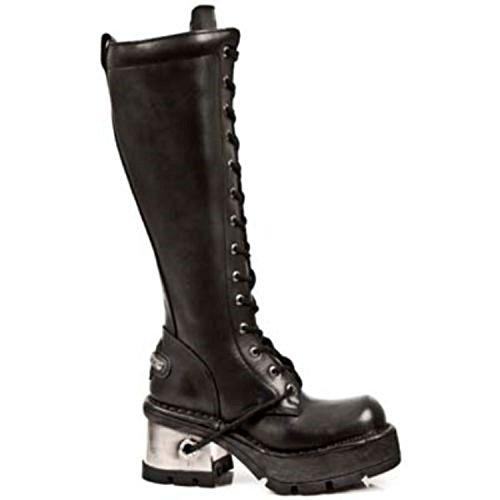 NEWROCK New Rock 236 Ladies Black Leather Metal Heel Platform Knee Lace Boots ygQWpu