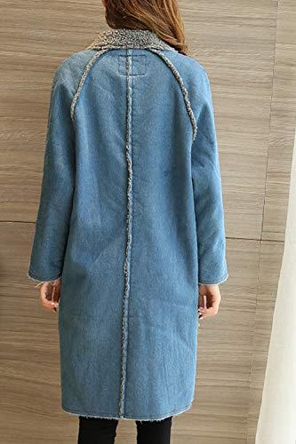 Di Inverno Acciuffato Donne Giacche Jeans Vello Casual Blu Manica Le Lunga Outwear Fasumava qX1wxBvT