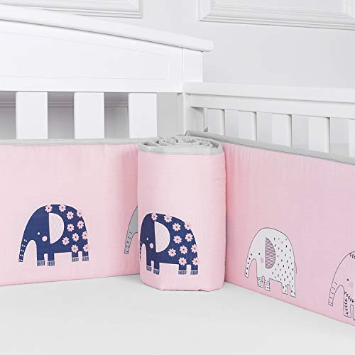Designthology Baby Breathable 100% Cotton Muslin Crib Bumper Pads for Standard Cribs Machine Washable Padded Crib Liner Protector, Pink Elephant, 4-Pieces