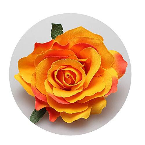 NDJqer 1Pc Rose Artificial Flower Brooch Bridal Wedding Party Hairpin Women Hair Clips Headwear Party Girls Orange