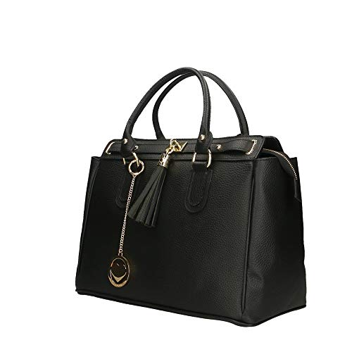 En Véritable Borse Cuir Bag Italy Chicca Cm Main In Made À Sac Noir 40x27x18 XFxCq
