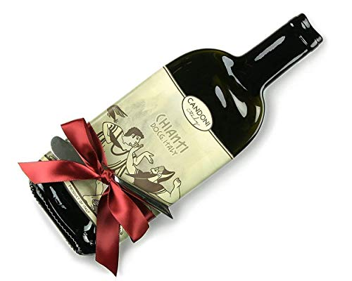 (Candoni Chianti Melted Wine Bottle Cheese Tray with Cheese Spreader, Red Wine Lover Gift)