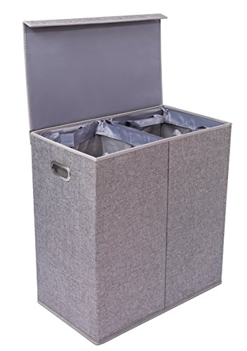 BirdRock Home Double Laundry Hamper with Lid and Removable Liners | Linen | Easily Transport Laundry | Foldable Hamper | Cut Out Handles (White Gold Childrens Square)