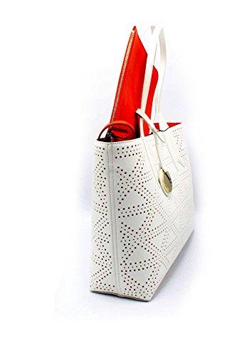 Emporio Armani Donna Borse Y3D081 YH16A SHOPPING BAG DANDELION Y3D081 YH16A Bianco/Aragosta Edición Limitada De Descuento efS4Ib