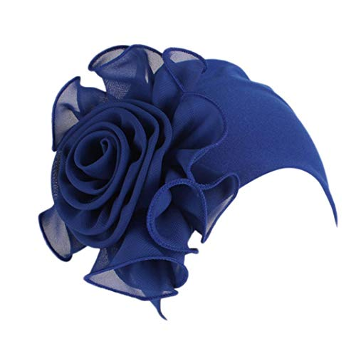 Women Ladies Retro Big Flowers Hat Turban Brim Hat Cap (Dark Blue)