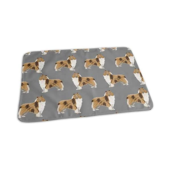 Rough Collie Dog Fabric Cute Rough Collie Print Pattern for Sewing Quilters Cute Dog Design, Baby Portable Reusable Changing Pad Mat 25.5 x 31.5 1