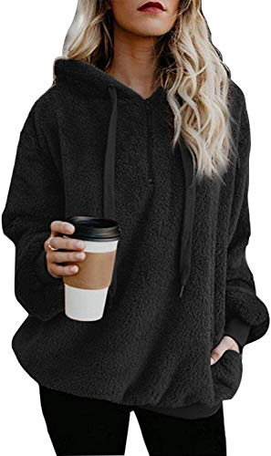 Vansha Women's Fuzzy Fleece Pullover Hoodie Long Sleeve Casual Loose Sweatshirt Outwear with Pockets Black