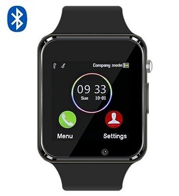 Qidoou Smart Watch, Bluetooth Smartwatch Compatible Smartphone, Fitness Tracker Step Calorie Sleep Sedentary Monitor Waterproof Touch Screen Call Message Music with SIM SD Slots Men Women
