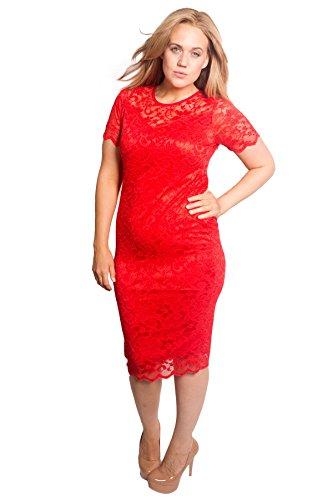 Nouvelle® Damen Übergröße Blumen Spitze Bodycon Kleid (Größe 44, Rot)