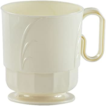 Hanna K. Signature Collection Elegance 40 Count Plastic Coffee Mug, 8-Ounce, Ivory