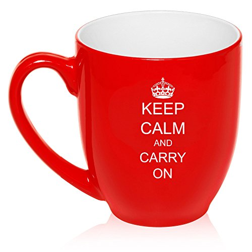 16 oz Large Bistro Mug Ceramic Coffee Tea Glass Cup Keep Calm And Carry On Crown - 16 Oz Bistro Ceramic