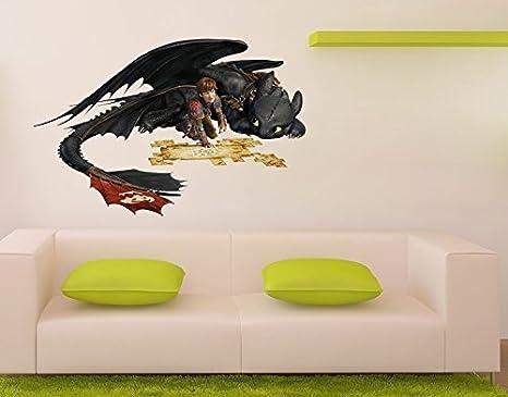 Klebefieber Wandtattoo Dragons Hicks und Ohnezahn B x H: 92cm x 60cm