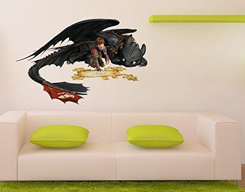 Klebefieber Wandtattoo Dragons Hicks und Ohnezahn B x H  123cm x 80cm