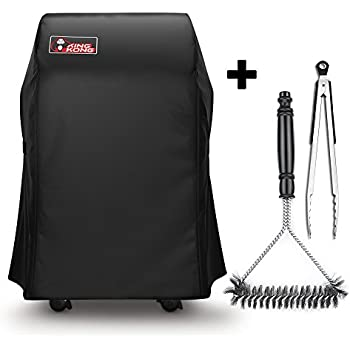 Kingkong 7105 Premium Grill Cover for Weber Spirit 210 Series Gas Grills with Collapsed Side Tables Bundle with Grill Brush and Tongs
