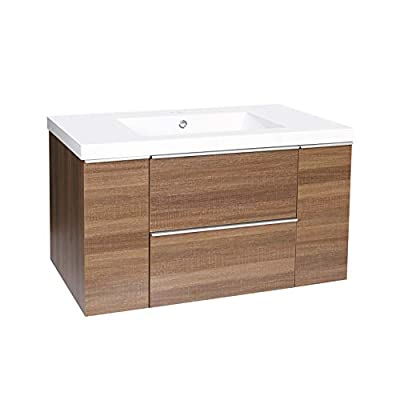 """Dyconn Faucet VCFL36M Nario Collection 36"""" Freefloating Bathroom Vanity with Stone Resin Countertop Basin, Brown - Vanity set: includes base cabinet (with two drawers / two doors) and countertop basin High-grade construction: made of high-density wood fibers to achieve outstanding durability and stability for prolonged use Pre-drilled 1 3/8 faucet hole and 1 7/10 drain hole for additional convenience - bathroom-vanities, bathroom-fixtures-hardware, bathroom - 414Lc3vtu3L. SS400  -"""