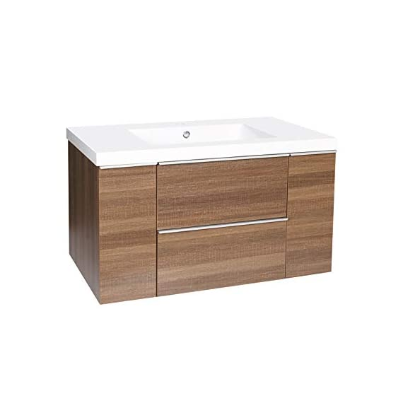 """Dyconn Faucet VCFL36M Nario Collection 36"""" Freefloating Bathroom Vanity with Stone Resin Countertop Basin, Brown - Vanity set: includes base cabinet (with two drawers / two doors) and countertop basin High-grade construction: made of high-density wood fibers to achieve outstanding durability and stability for prolonged use Pre-drilled 1 3/8 faucet hole and 1 7/10 drain hole for additional convenience - bathroom-vanities, bathroom-fixtures-hardware, bathroom - 414Lc3vtu3L. SS570  -"""