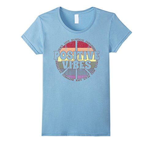 d54b8118f Womens Positive Vibes Rainbow Peace Sign Hippie Vintage T-Shirt XL Baby Blue