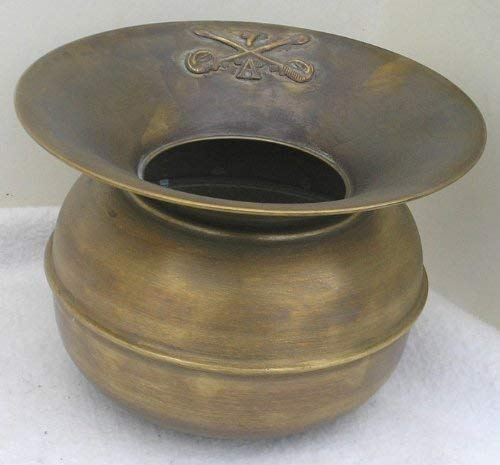 Solid Brass Spittoon 7th Cavalry Insignia Weighted Base