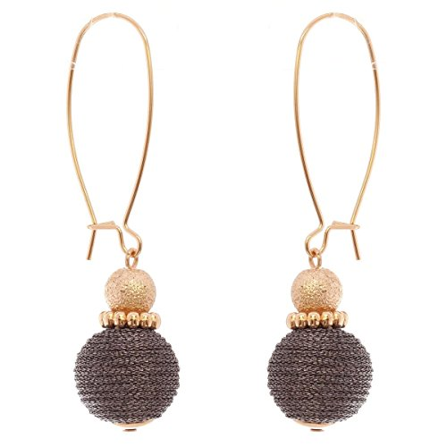 Women's Metallic Thread Ball Pierced Kidney Wire Earrings, Hematite-Tone/Gold-Tone (Wire Earrings Kidney Ball)